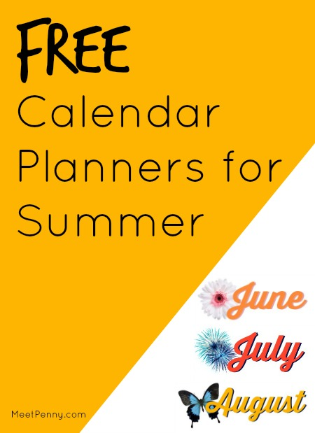 free calendar planners for summer - great for menu planning